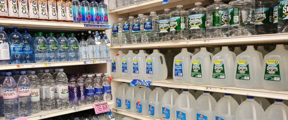 Bottled water in a grocery store