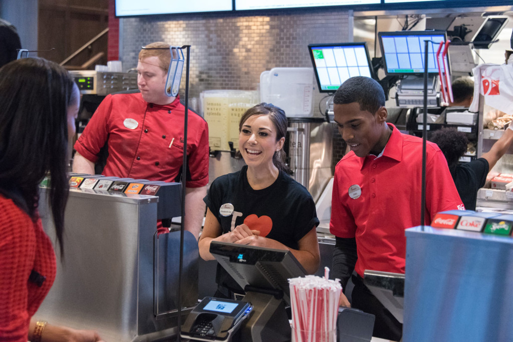 Chick-fil-A employees being friendly and polite