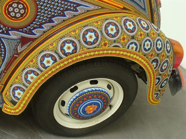 closeup of volkswagen bug with over 2 million beads