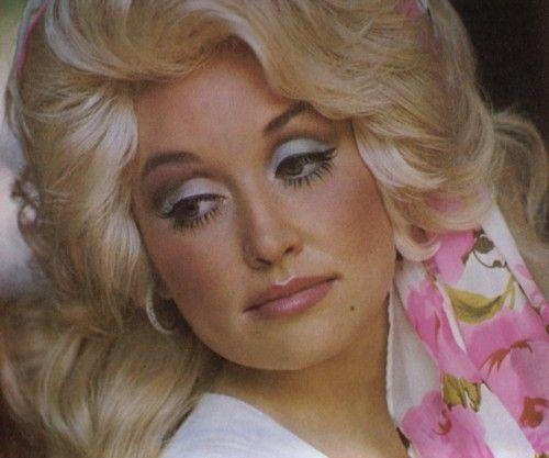 Dolly Parton makeup close-up