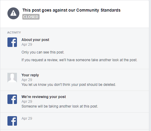 Facebook community guidelines notice