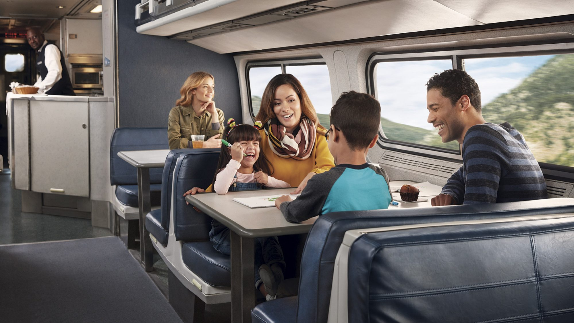 Family on an Amtrak train