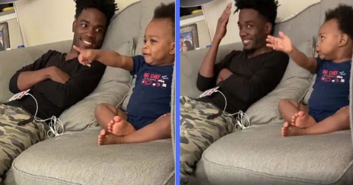 father and infant son have a conversation about tv show finale