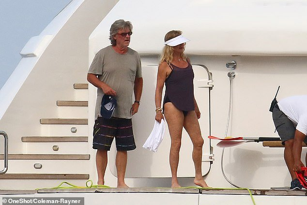 Goldie Hawn and Kurt Russell on a yacht together