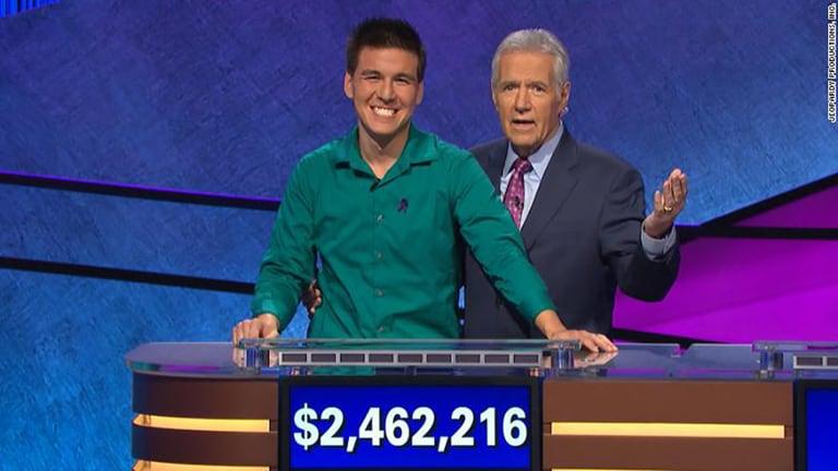 James Holzhauer and Alex Trebek on Jeopardy