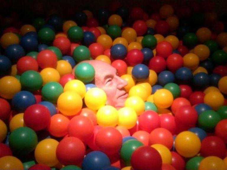 Patrick Stewart in a ball pit