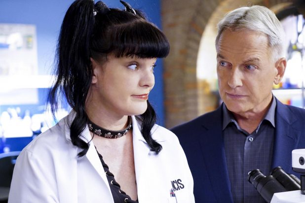 Pauley Perrette and Mark Harmon on NCIS