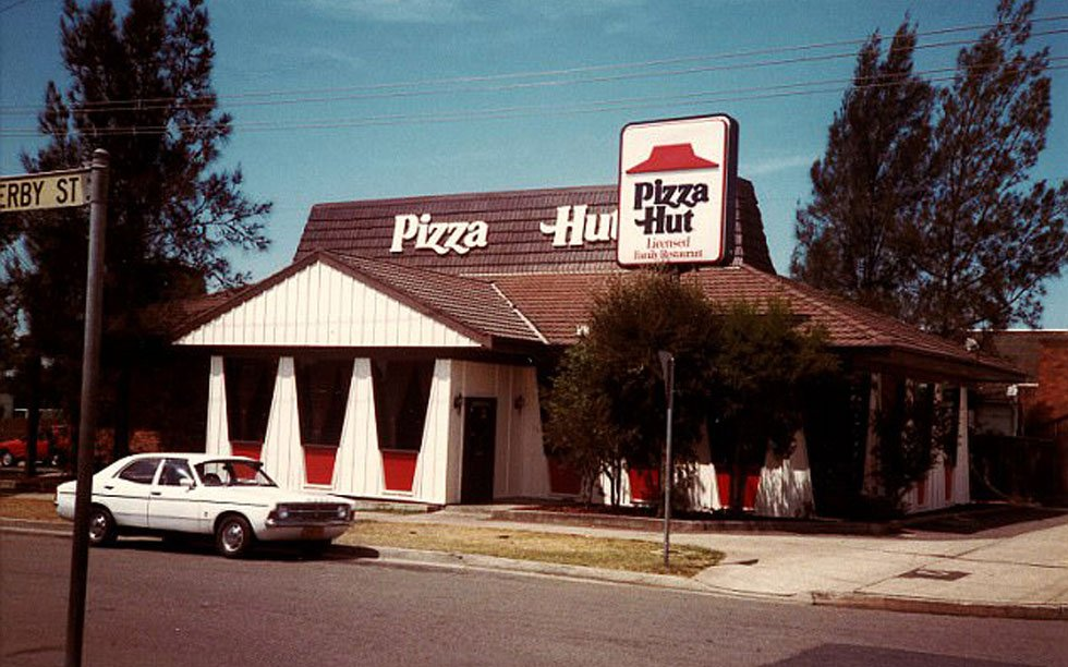 Pizza Hut in the 1970s with original logo