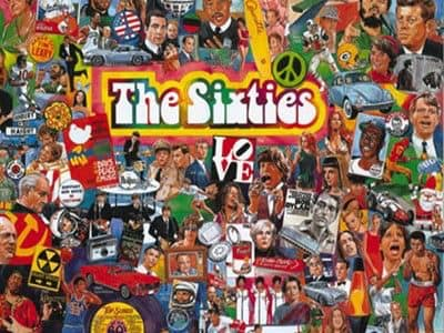 a photo collage of the sixties
