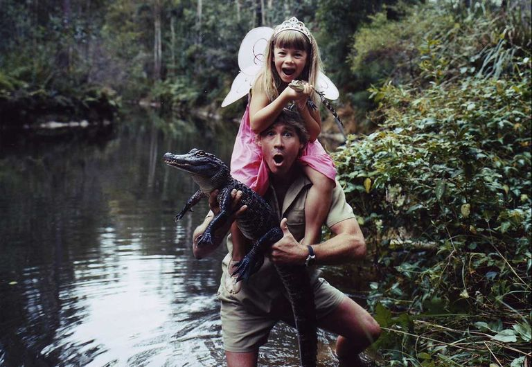 Steve and Bindi Irwin catching a crocodile