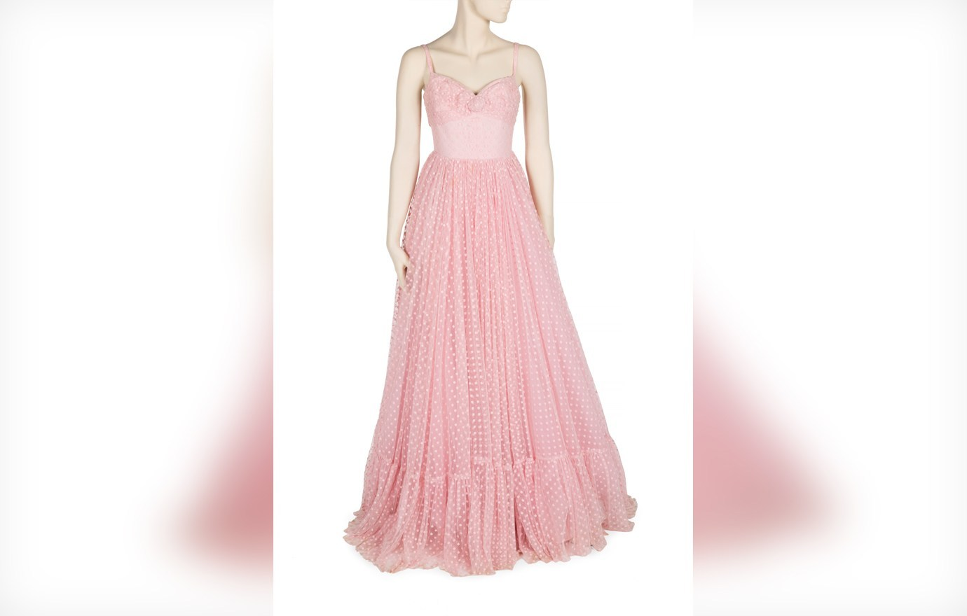Strapless pink lace gown