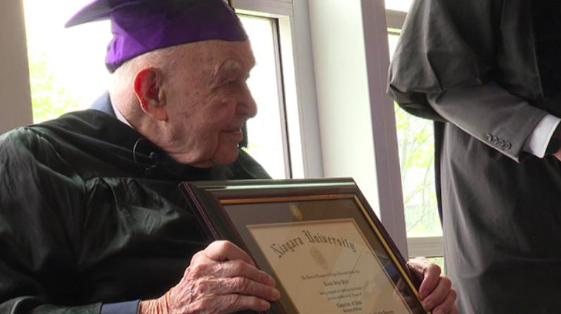 99 year old veteran receives college diploma