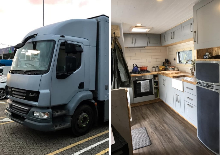 after photos of the old bread truck turned tiny home