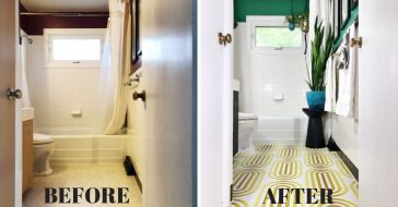 Before and after photos of a bathroom remodel for less than 300 dollars