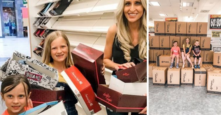 Carrie Jernigan and her kids bought out an entire Payless store to give shoes to kids in need