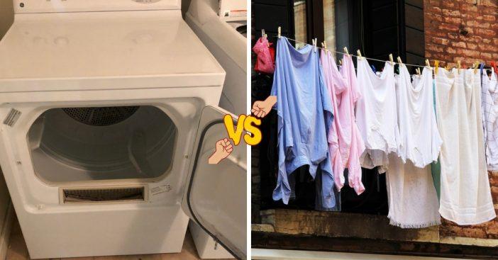 Machine drying versus air drying