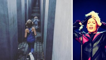 Pink defends a photo of her children running in the Holocaust Memorial in Berlin