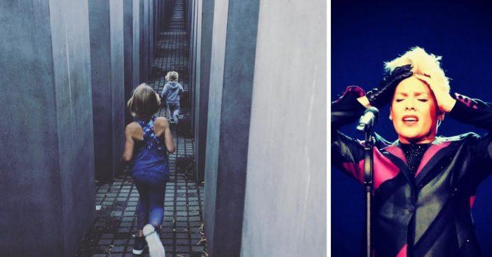 Pink defends a photo of her children running in the Holocaust Memorial in Berlin