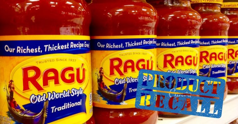 Ragu pasta sauces are being recalled for possible plastic contamination