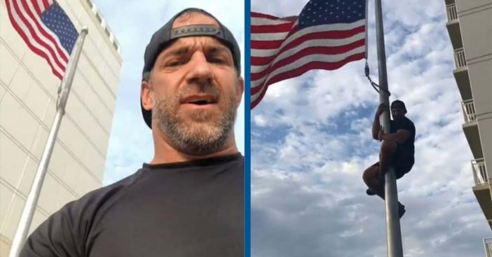 Veteran Climbs Flagpole To Fix American Flag At Navy SEAL Monument