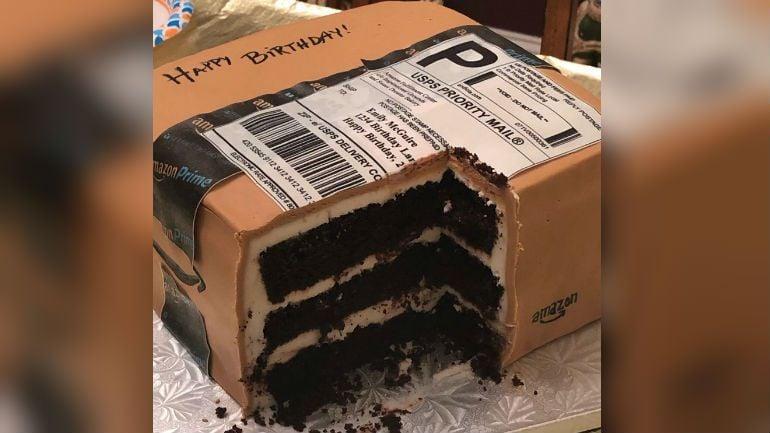 amazon box birthday cake