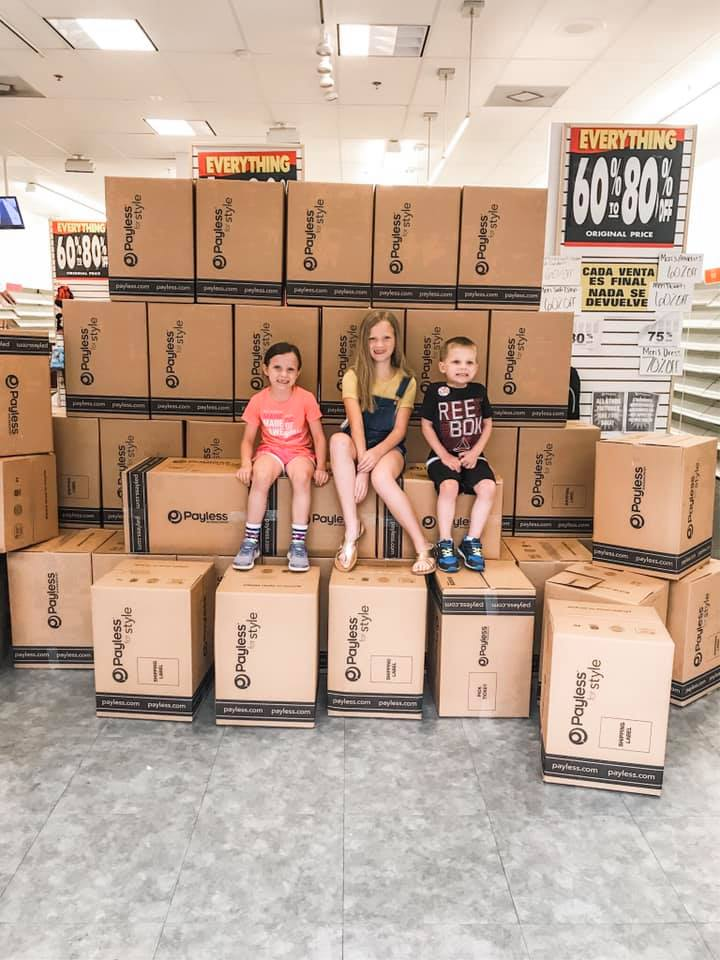 kids and payless boxes
