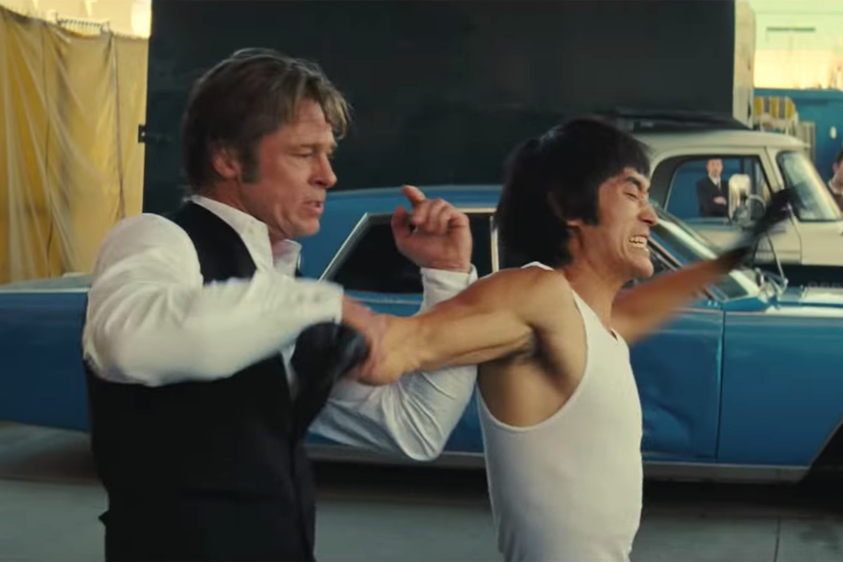 Cliff Booth and Bruce Lee fight in Once Upon a Time in Hollywood