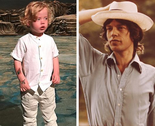 Dev Jagger and Mick Jagger (1970s)