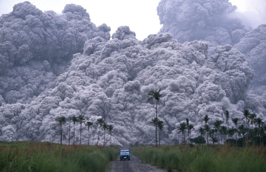 driving away from volcano eruption