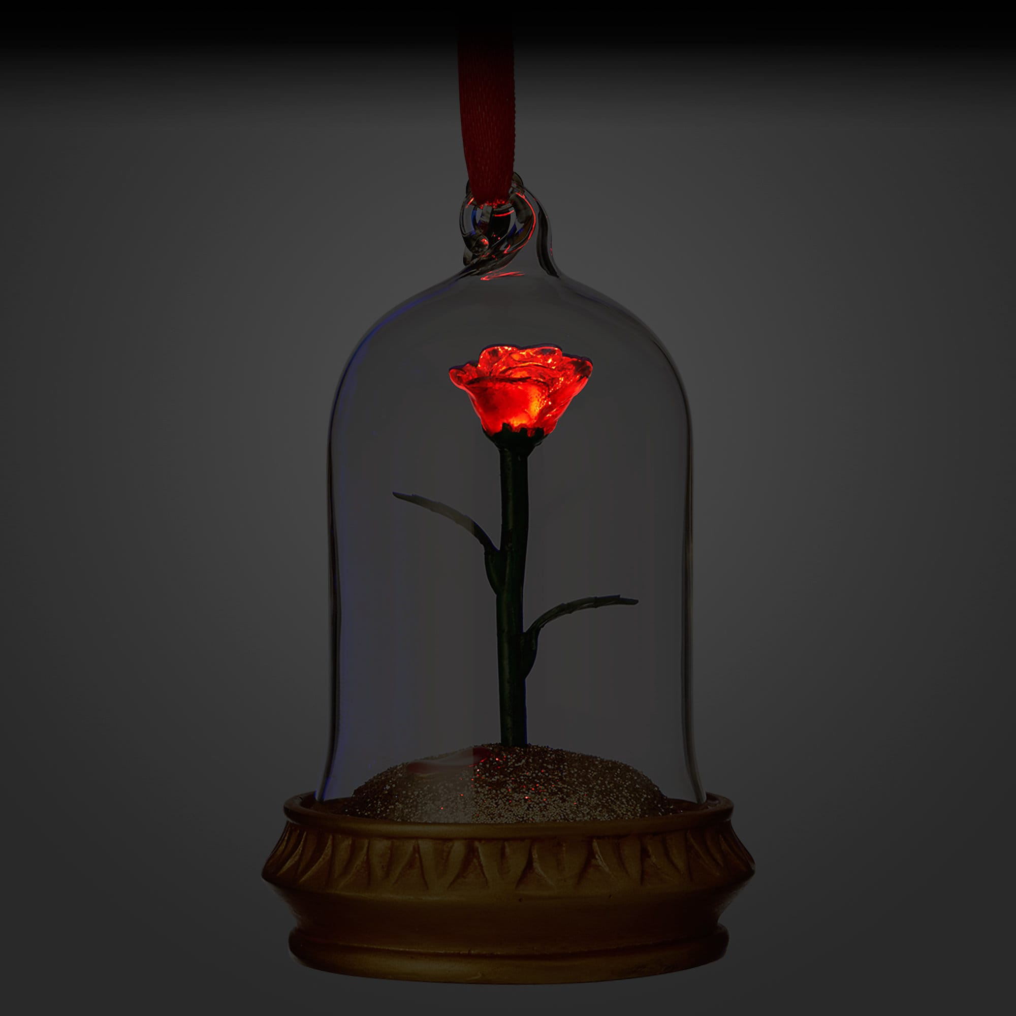 light up enchanted rose beauty and the beast ornament disney