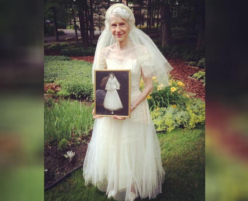 grandma wearing wedding dress from 1953