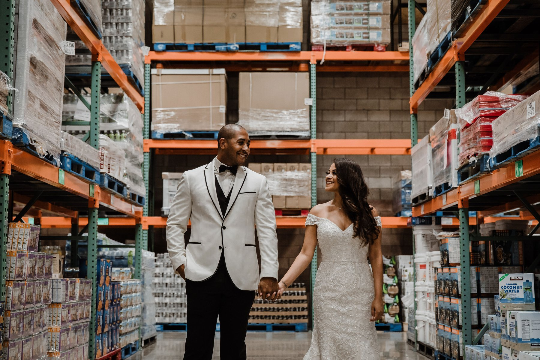 costco aisle wedding photos