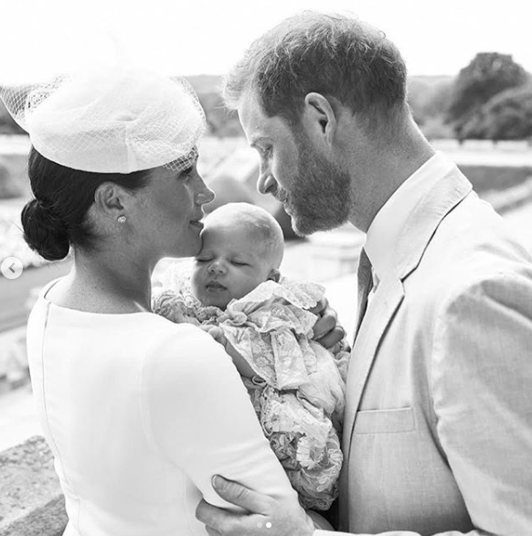 meghan markle prince harry and baby archie at christening
