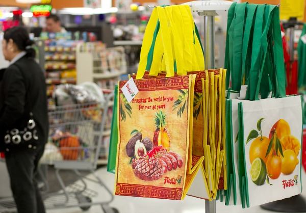 reusable bags in a grocery store