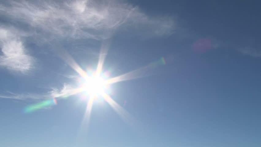 sun shining on a hot day