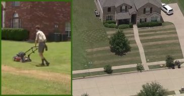 teen mows american flag into yard for fallen soldier