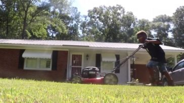 12 year old Jaylin Clyburn has been cutting lawns to save money for college