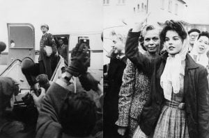 Priscilla waves goodbye to Elvis as he leaves Germany