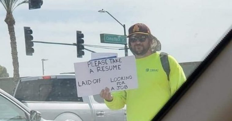 One man took to the streets to hand out resumes after he got laid off