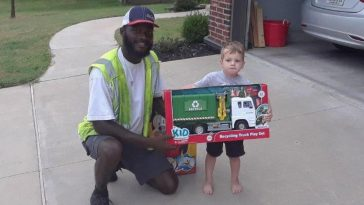 Sanitation Worker Gifts Toy Recycle Truck To Boy Who Regularly Greets Him