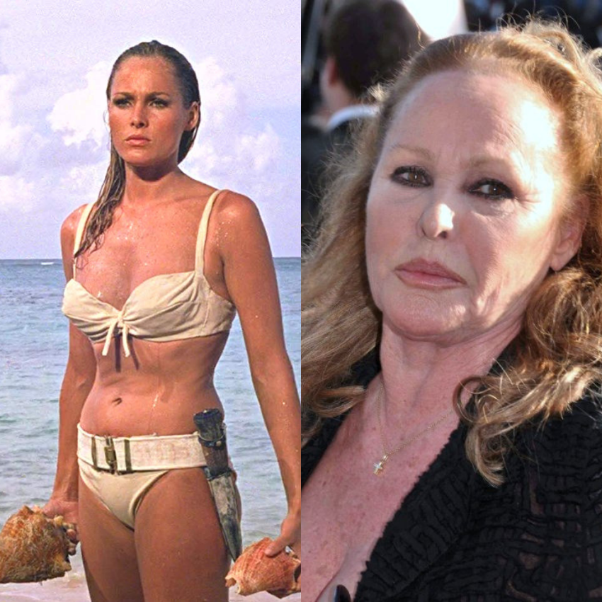 Ursula Andress as 'Honey Ryder' and her recent photo as well.