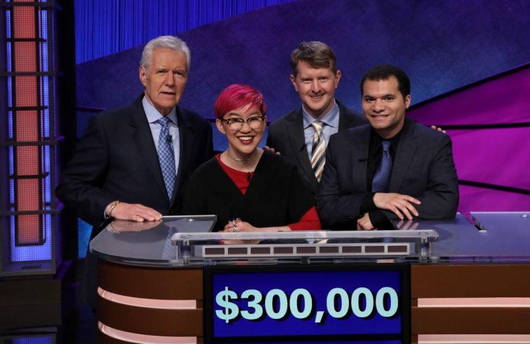 Alex Trebek with Jeopardy! contestants