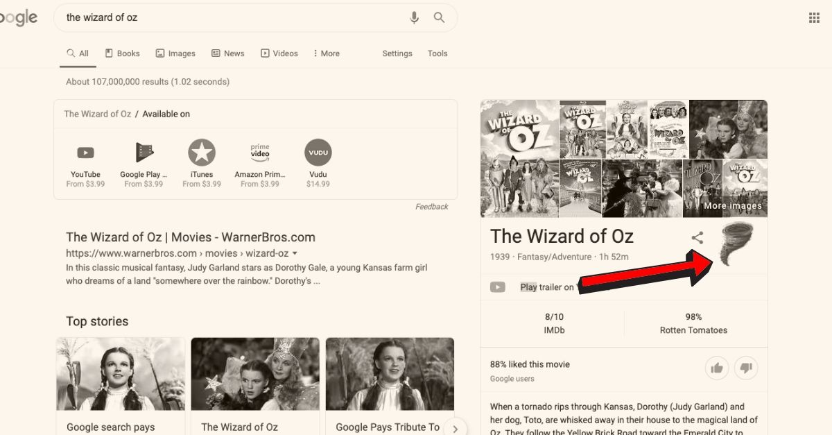 Google celebrates Wizard of Oz 80th anniversary
