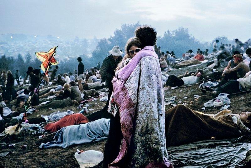 Nick and Bobbi Ercoline Holding Each other in Bethel, New York at Woodstock 'Aquarian Exposition' In 69