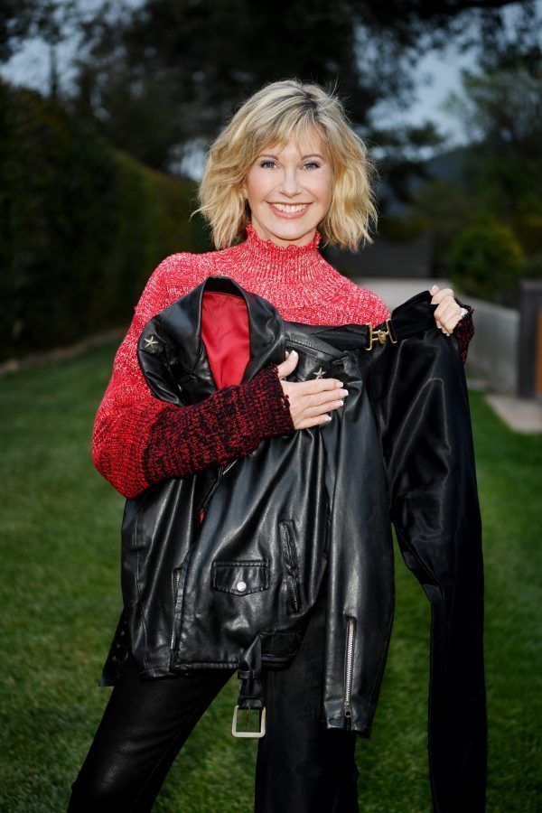 olivia newton-john with her grease costumes