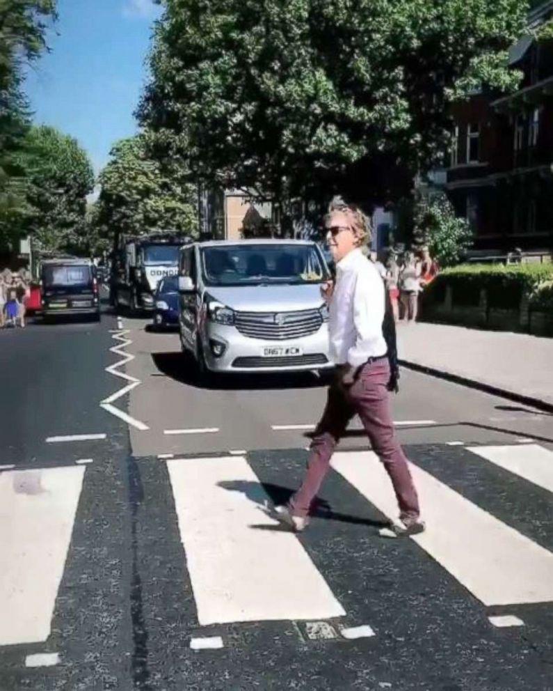 Paul McCartney crosses Abbey Road in 2018