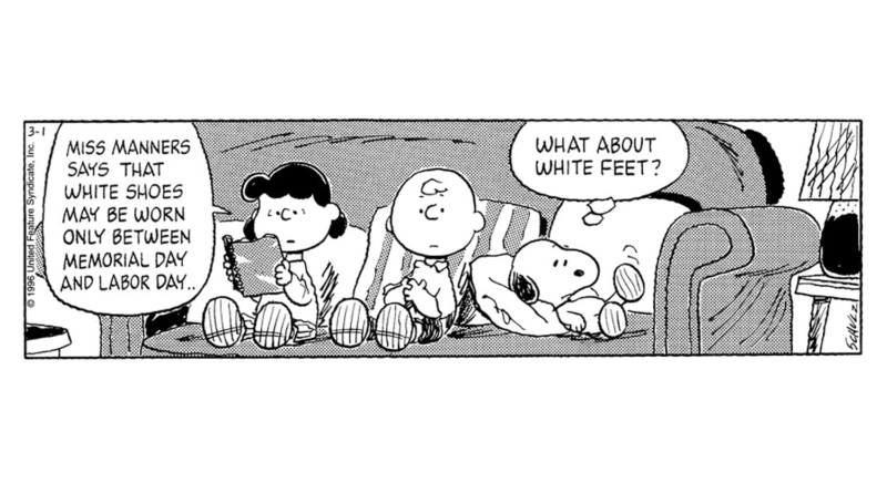 wearing white after labor day peanuts comic strip