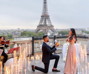 Dhar proposed to Laura before the Eiffel Tower