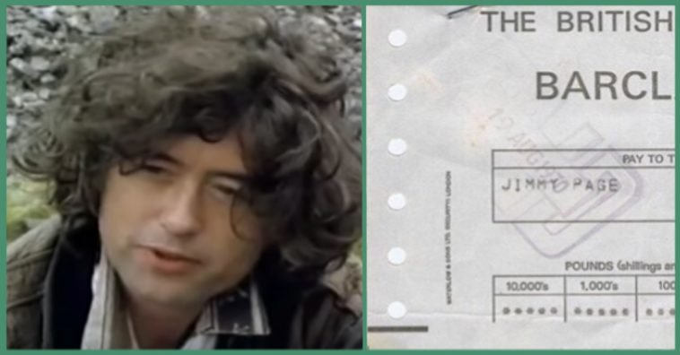 Jimmy Page next to a recent early paycheck he released.