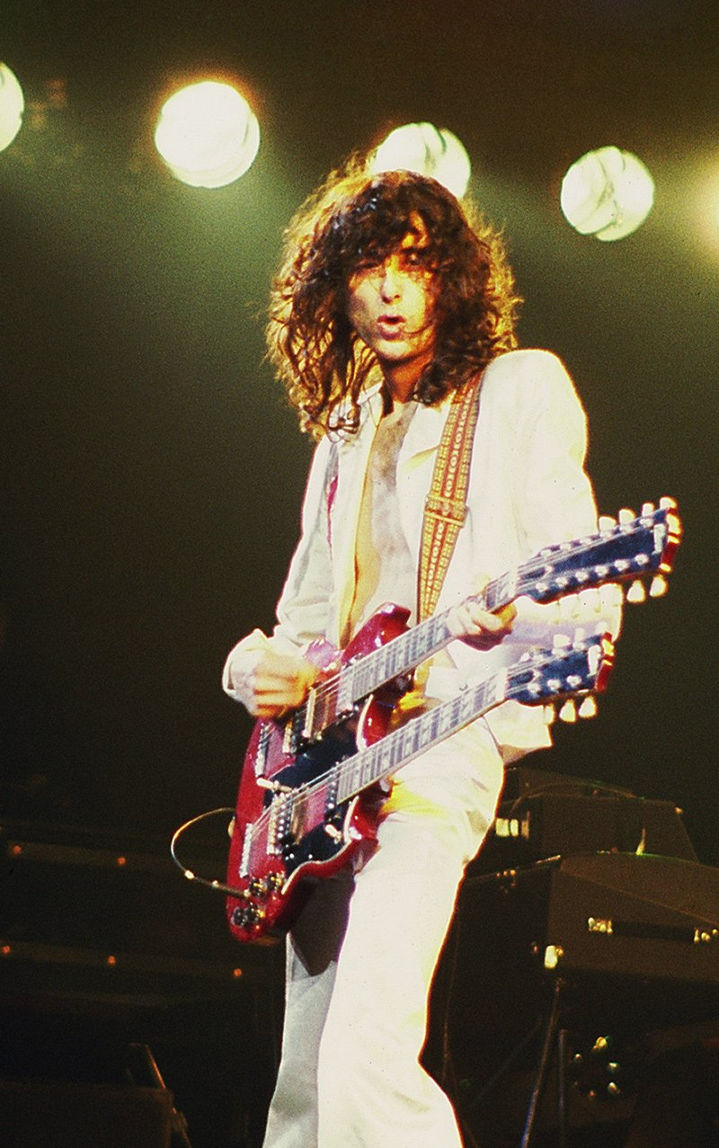 "Jimmy Page using a double-necked guitar to perform ""Stairway to Heaven"" live."